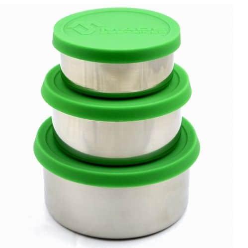 Ronde RVS lunchboxen set met Siliconen Deksel
