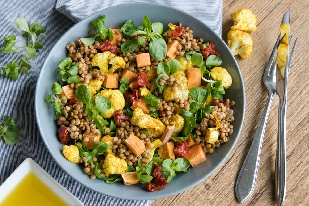 Recept voor heerlijke linzen salade met zoete aardappel